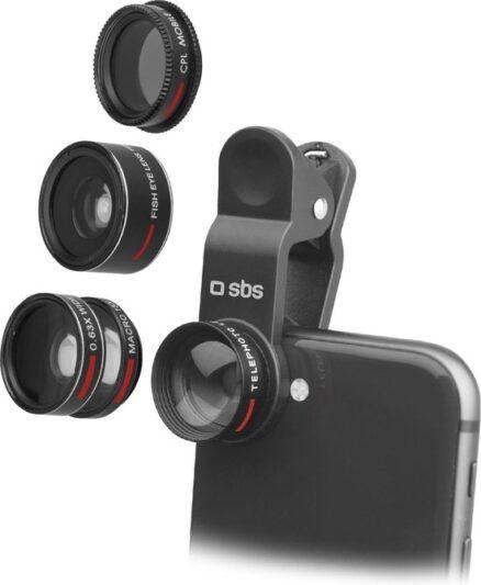 Sbs Universele lenzenset 5 in 1 voor Smartphones (4x Objectief, 1x Filter)