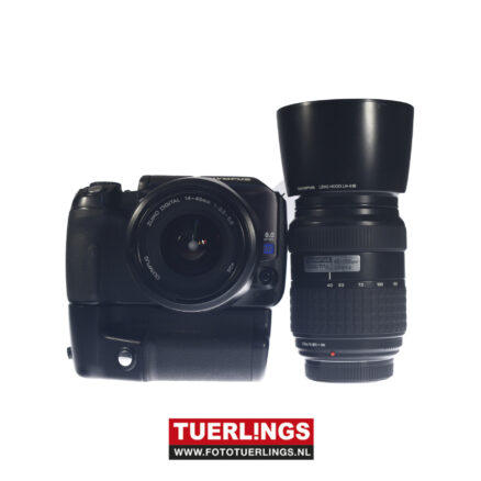 Olympus E-300 digitale SLR+HLD-3 grip+14-45mm+40-150mm occasion